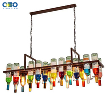 Pendant Lights American Retro Industrial Bar Creative Cafe Restaurant Lighting Glass Wine Bottle E27 LED Vintage Pendant Lamp scandinavian pendant lights industrial naked pupa personalized creative restaurant cafe bar stairs retro industry pendant lamps