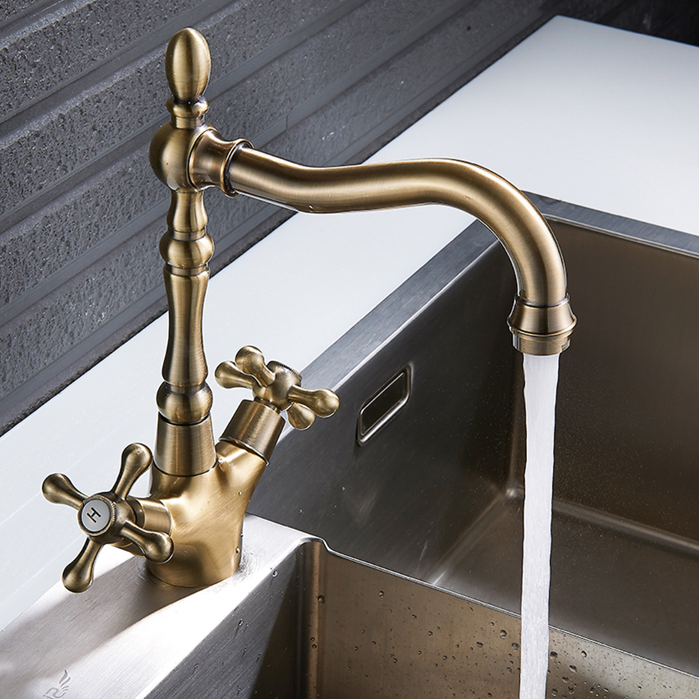 Classic Bathroom Sink Faucet Tap Antique Basin Brass Faucets Rotate Single Handle Hot Cold Water Mixer Taps Bathroom Accessories