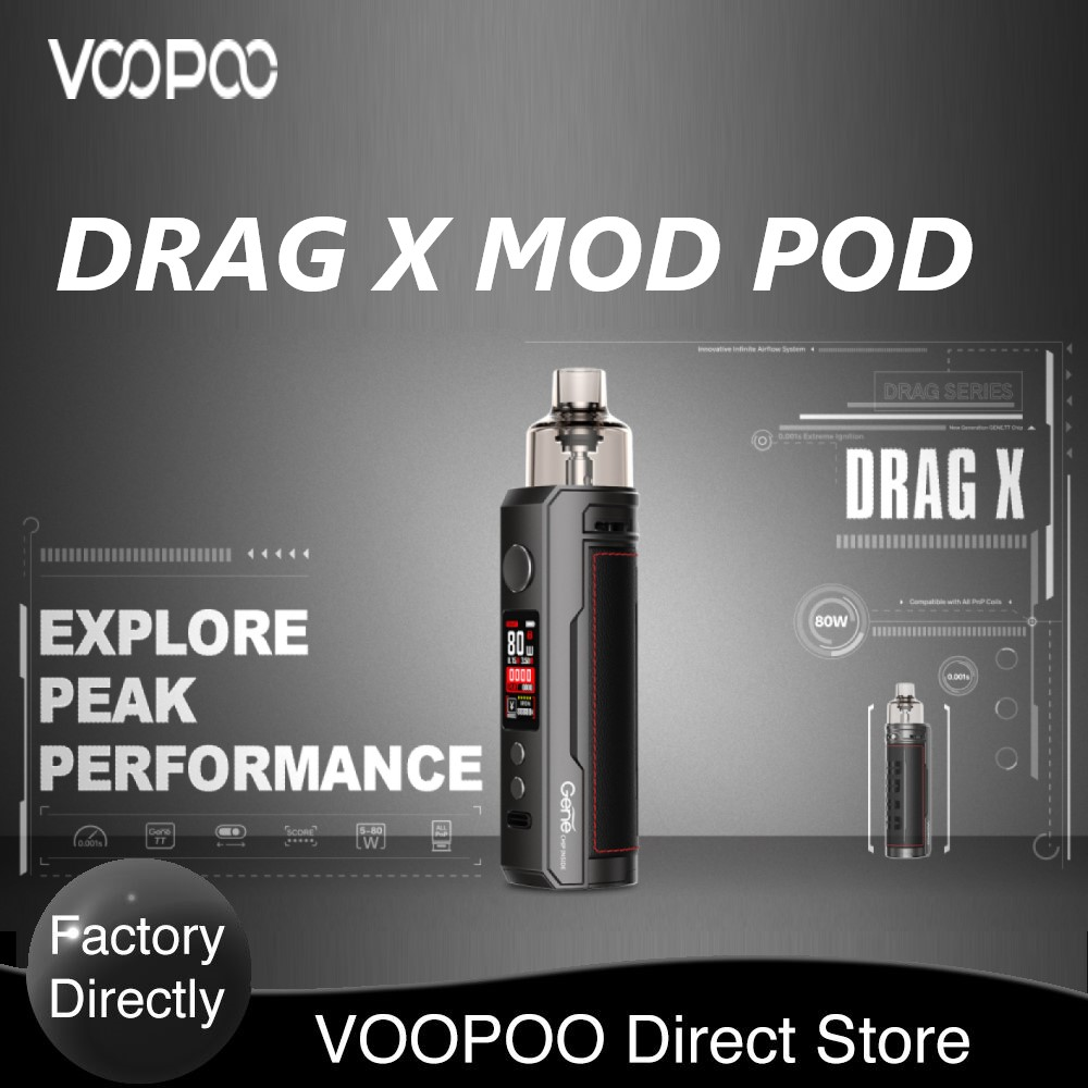 Original VOOPOO DRAG X Mod Pod Kit With 4.5ml Pod PnP-VM6 0.15ohm / PnP-VM1 0.3ohm Coil 80W Max Output E-cig Vape Kit Vs Vinci X