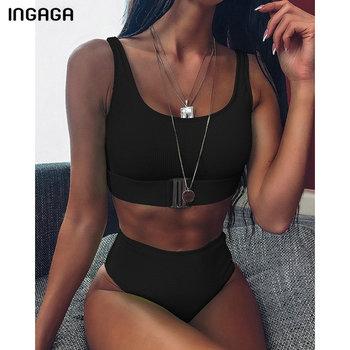 INGAGA High Waist Bikini Mujer Solid Top Wrap Swimwear Women Fashion Buckle Swimsuit Feamle Sexy High Cut Bathing Suit 2020 New