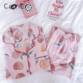 Осенне-зимний женский пижамный комплект CAIYIER, милая персиковая одежда для сна для девушек, Хлопковая женская одежда для сна с длинным рукаво...
