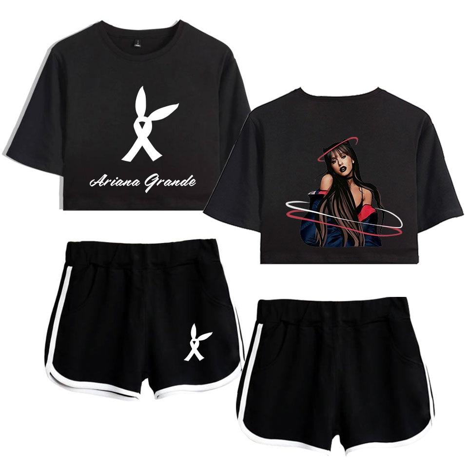 2019 Ariana Grande Two Piece Set New Shorts Women Casual Ariana Grande Shorts Outerwear Femme Contrast Elastic Waist Shorts