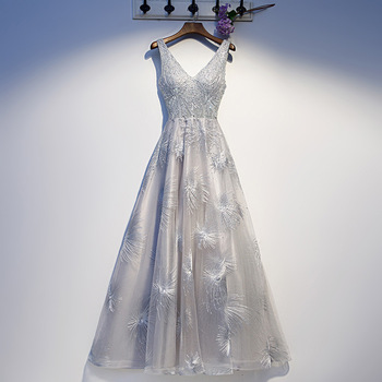 Sleeveless A-line Lady Elegant Mesh Cheongsam Qipao Sexy Rhinestone Evening Party Gown Novelty Gray Bling Vestidos De Festa