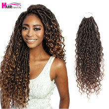 цена на 14-18Inch Goddess Locs Crochet Hair Synthetic Braiding Hair Extensions With Curly Ends New Soft Nature Curls Hair Expo City