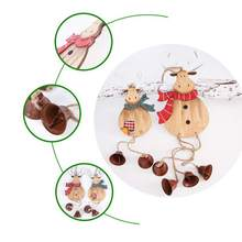 Christmas Decor Wooden Pendant Elk Hanging Decoration Tree Bell