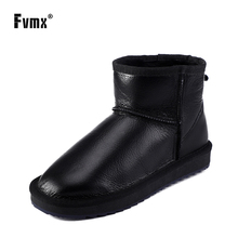 FVMX Classic Waterproof Sheepskin Leather Fur Lined Short Winter Snow Boots Women Casual An