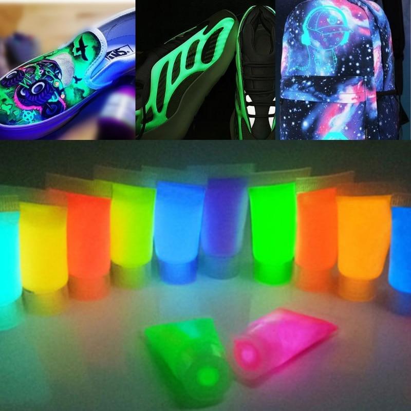 10g/bottle 13colors Leather Luminous Acrylic Pigment DIY Sneaker Canvas Bag Paint Color Change Fluorescent Glow In The Dark