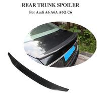 Fit For Audi A6 Spoiler C6 carbon fiber rear spoiler trunk Lid Boot Lip wing car styling Decoration 2005 2011