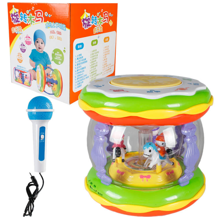 Early Childhood Educational Baby Toys Microphone Chargeable Children Hand Drum Merry-go-round Music Drum