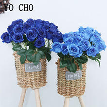 YO CHO Artificial Flower Bouquet 12 Heads Silk Rose Burgundy Blue Flower Fake Rose Bunch Wedding Party Home Table Decoration