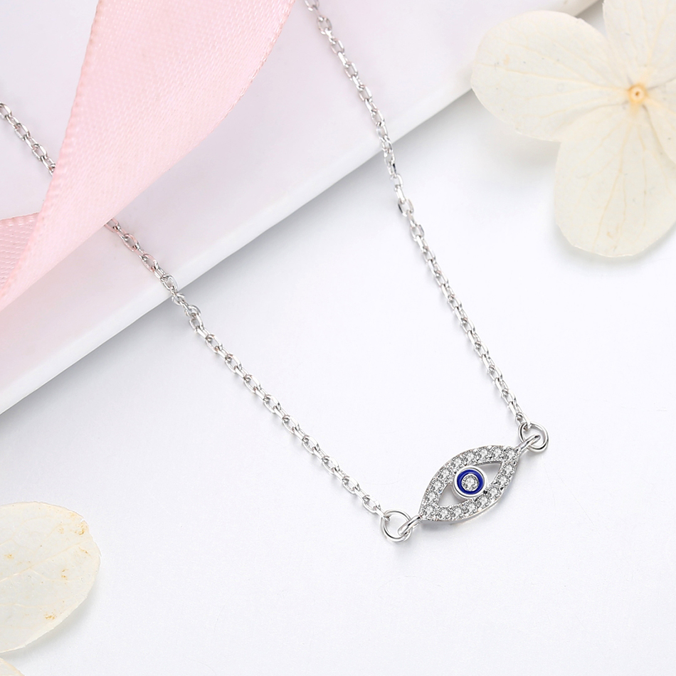 Forewe 100% 925 Sterling Silver Turkish Eye Pendant Necklace for Girls Kids Blue Eye Crystal Necklaces Fashion Jewelry
