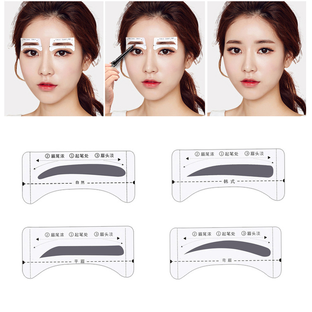 4pcs Eyebrow Stencils Grooming Shaper Tattoo Stencil Models Template Shaping Tools Eyebrows Template Card Eye Shadow Makeup Tool 3