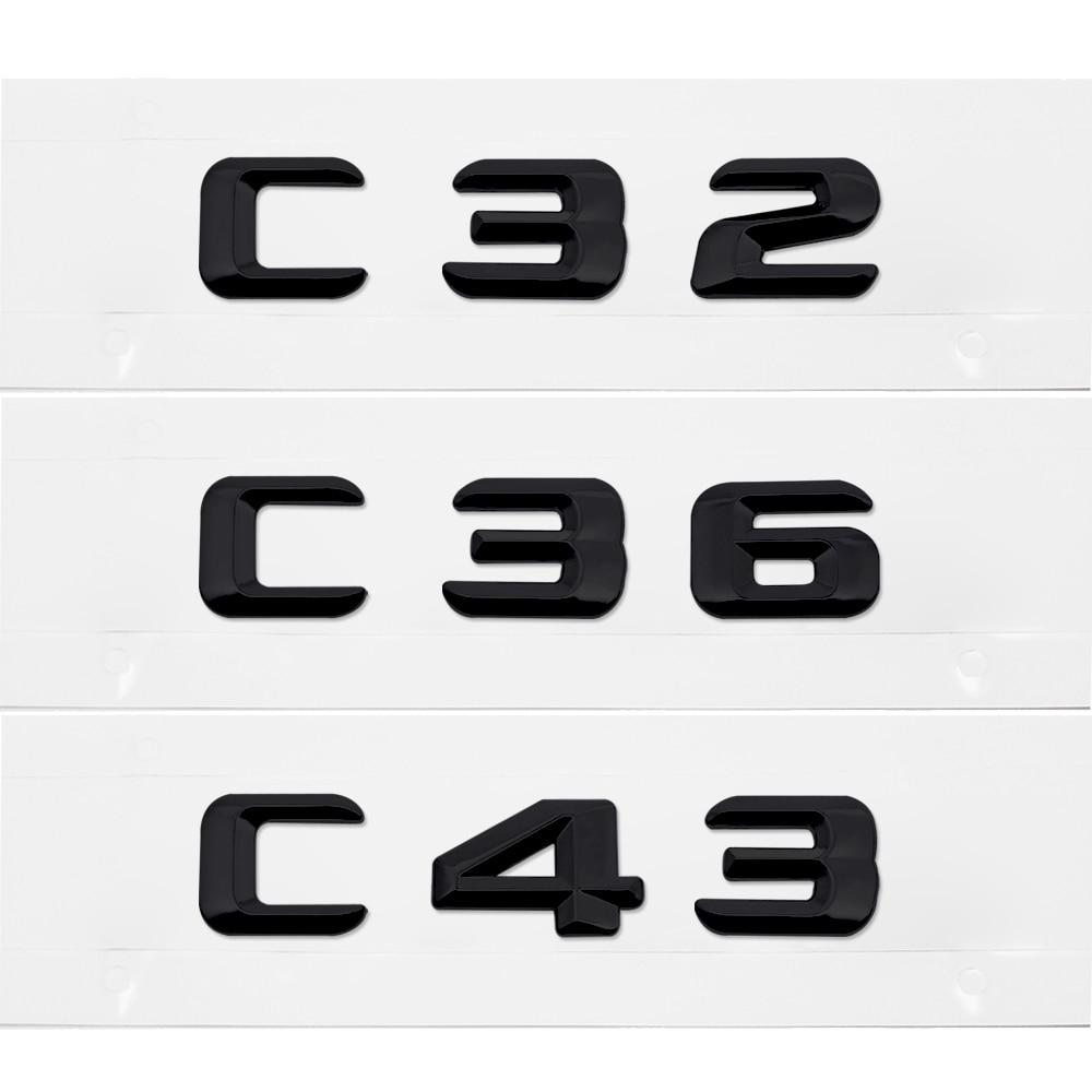 MATTE BLACK BENZ C32 REAR TRUNK LETTERS BADGE EMBLEM FOR BENZ C-CLASS W203