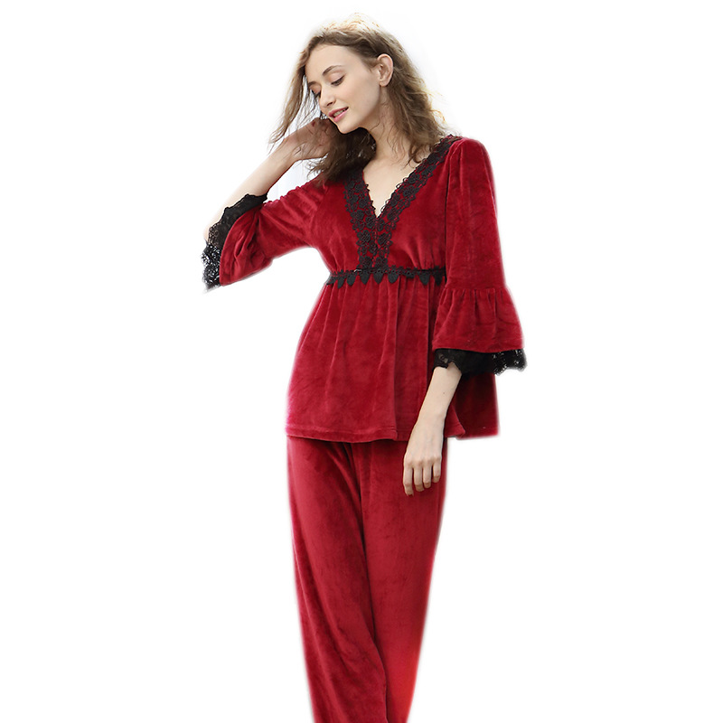 European American Court Pajamas Women's Spring Suit Sexy Seven-point Sleeve Sweet Flannel Ladies Home Suit