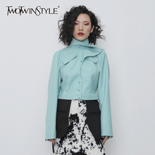 TWOTWINSTYLE Asymmetrical PU Leather Women Jacket Turtleneck Long Sleeve Slim Ir