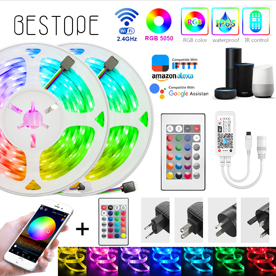 WIFI LED Strip Light DC 12V SMD 5050 Flexible Diode Ribbon Tape RGB light Waterproo WIFI Remote Full Set Non Waterproof Lighting(China)