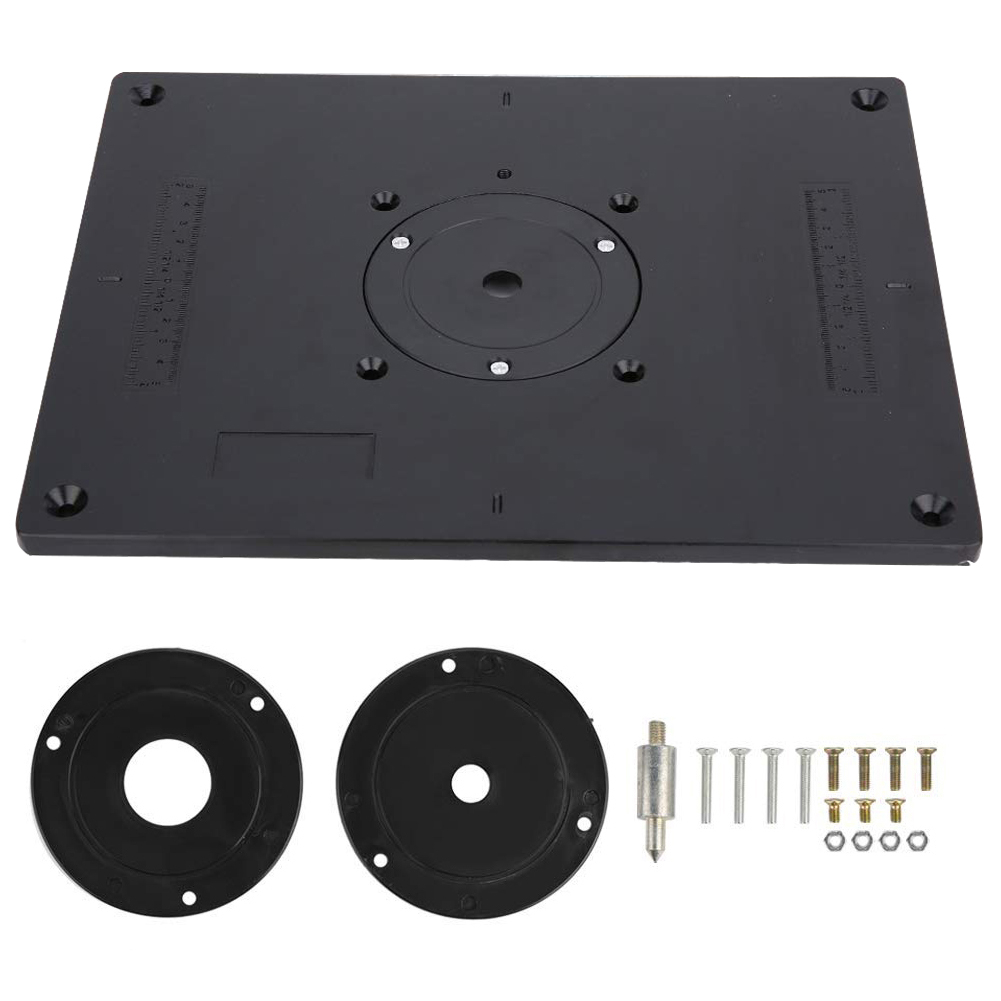 Multifunctional Aluminum Router Table Insert Plate With 4 Router Insert Rings Screws For Woodworking Benches Router Table Plate
