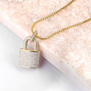 Image 3 - Micro Paved Crystal Lock Pendant Necklace Women/Men Gold Color Fine Jewelry Hiphop Top Quality CZ Christmas Gift