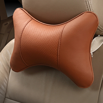 1PC Car Neck Pillows Both Side PU Leather Single Soft Headrest Fit For Most Cars Filled Fiber Universal Car Pillow 4 Colors image