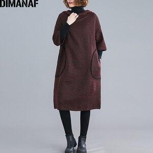 Image 3 - DIMANAF زائد حجم النساء اللباس خمر الخريف الشتاء سميكة كبير جدا فضفاض الإناث Vestidos عارضة مقنعين جيوب الركبة طول اللباس