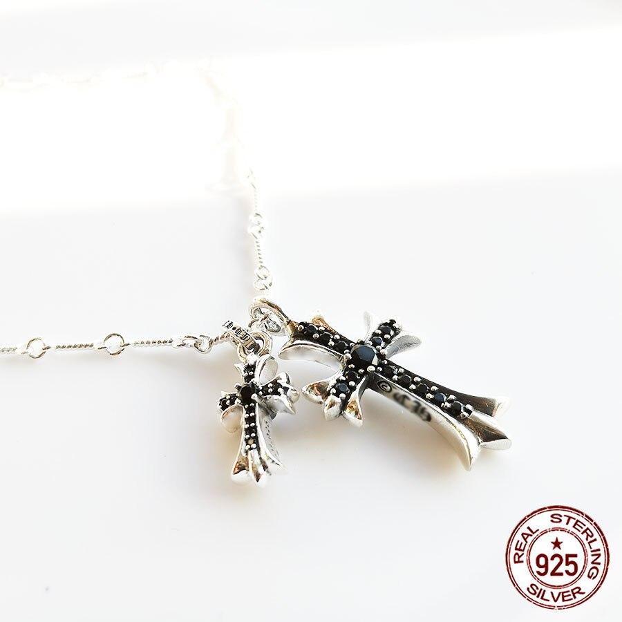 S925 collier en argent Sterling rouge noir simple style sauvage or croix collier pendentif classique couple style chandail chaîne envoyer