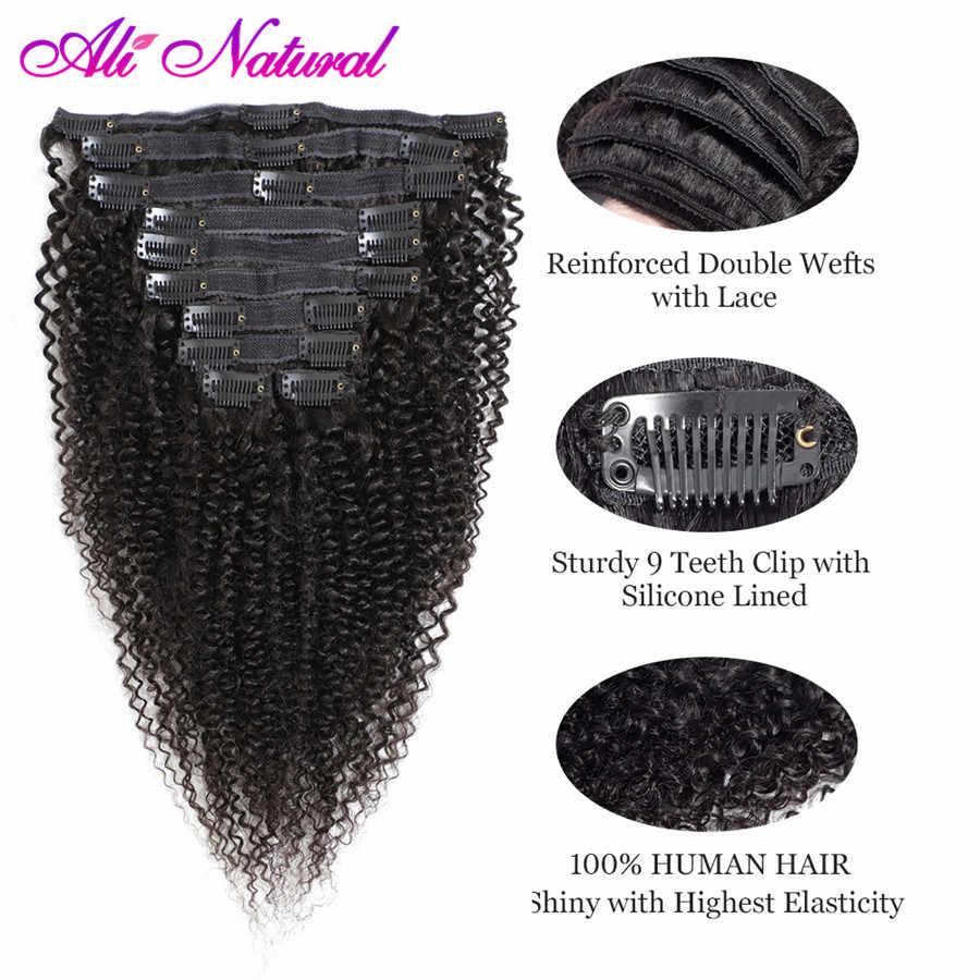 פרואני קינקי מתולתל קליפ שיער טבעי הרחבות 4B 4C 10 יח'\סט כפול ערב 120 גרם\סט ללא רמי שיער טבעי שחור צבע