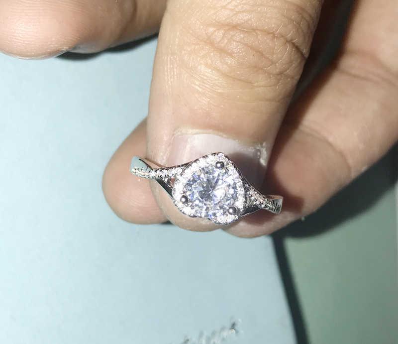 Yanhui romântico coração anéis para mulher 925 prata esterlina nupcial casamento jóias 2ct redondo zircônia anel de diamante acessórios