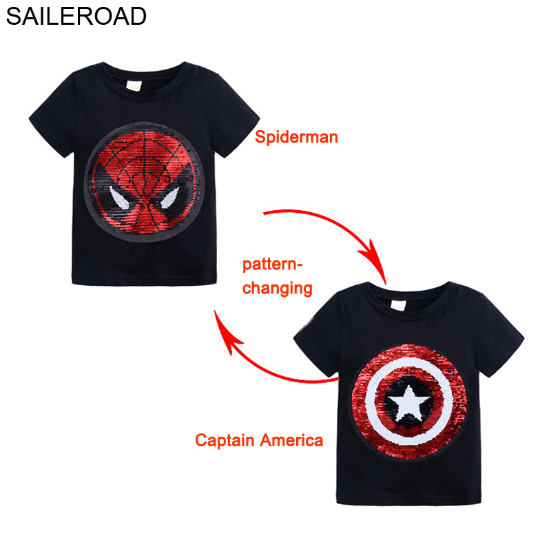 SAILEROAD Spiderman Face-changing Captain America Boys T Shirts 2020 Summer New Children Tops T-Shirts Paillettes Clothes Kids