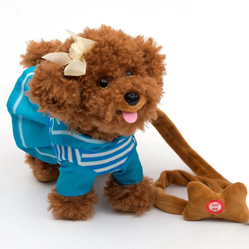 Children Electric Toy Dog Leash Machine Plush Model Teddy Baby Girls Boys Smart Puppy Remote Control