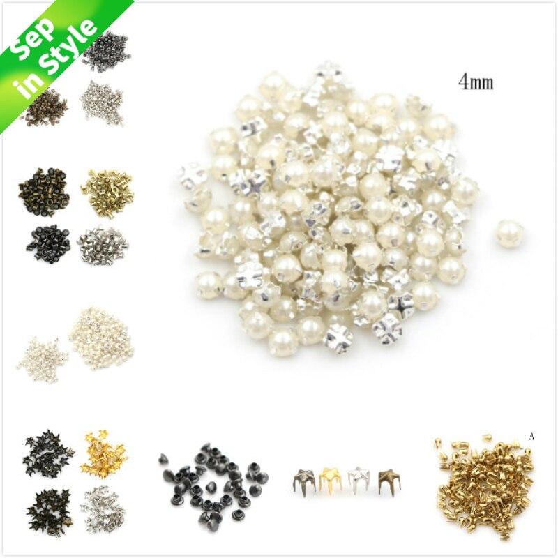 100 pièces 3/4MM perle boucle 2/2. 5/5mm boucles artisanat fait à la main 4mm champignon clou trompette Rivets bricolage Patchwork accessoires de couture (lot de 100)