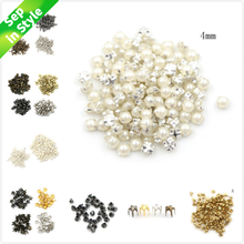 100pcs 3/4MM Pearl Buckle 2/2.5/5mm Buckles Handmade Craft 4mm Mushroom Nail Trumpet Rivets DIY Patchwork Sewing Accessories