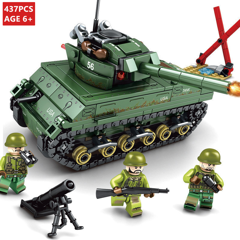 437Pcs M4 Sherman Tank Empire WW2 World War II ARMY LegoINGLs Military 3 Figures Building Blocks Lepinblocks Toys For Children
