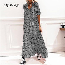 2021 Spring Fashion Skull Printed Loose Dress Elegant Women V-Neck Long Dresses Ladies Casual Long Sleeve Party Dress Vestidos