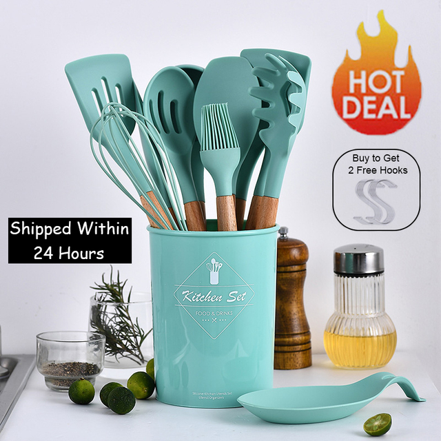 9/10/12pcs Cooking Tools Set Premium Silicone Kitchen Cooking Utensils Set with Storage Box Turner Tongs Spatula Soup Spoon 1