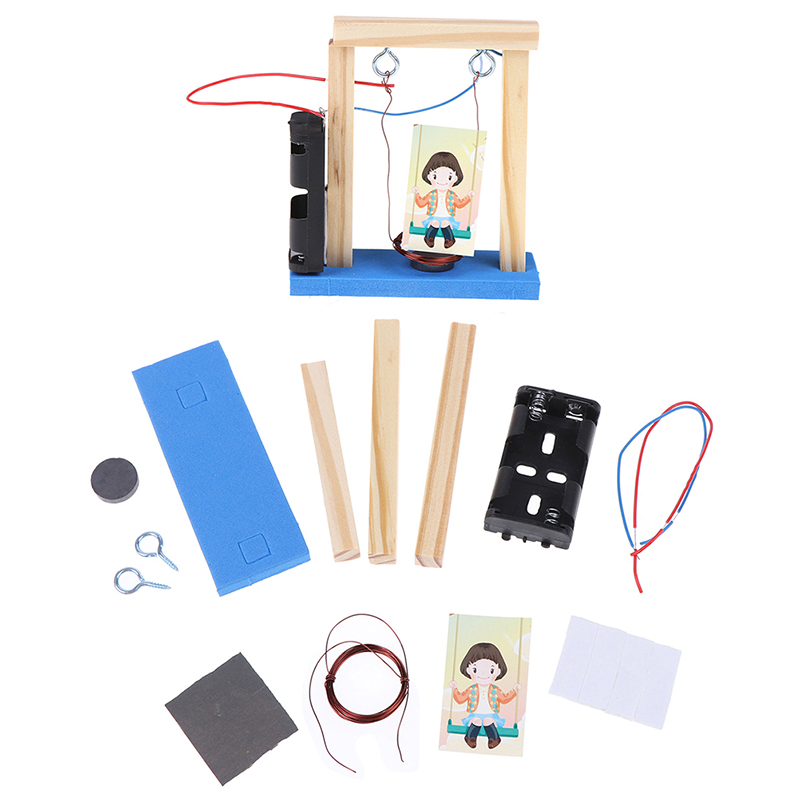 Invention Experiment Wood Electromagnetic Science DIY Handmade Swing Set 2019 New Educational Toy For Children Birthday Gift New