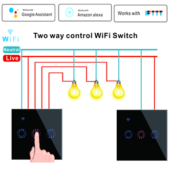 WiFi Smart 2 Way Light Switch 1/2/3 Gang Wall Touch Switch eWeLink Work with Alexa Google Assistant bseed touch switch wifi double 3 gang 1 way 2 way light switch wall switch 3 color crystal class panel fashion smart switch