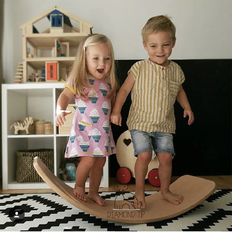 Child Balance Toy Wooden Seesaw Indoor Curved Board Baby Double Wooden Outdoor Seesaw Yoga Board Outdoor Toys For Kids Free Ship