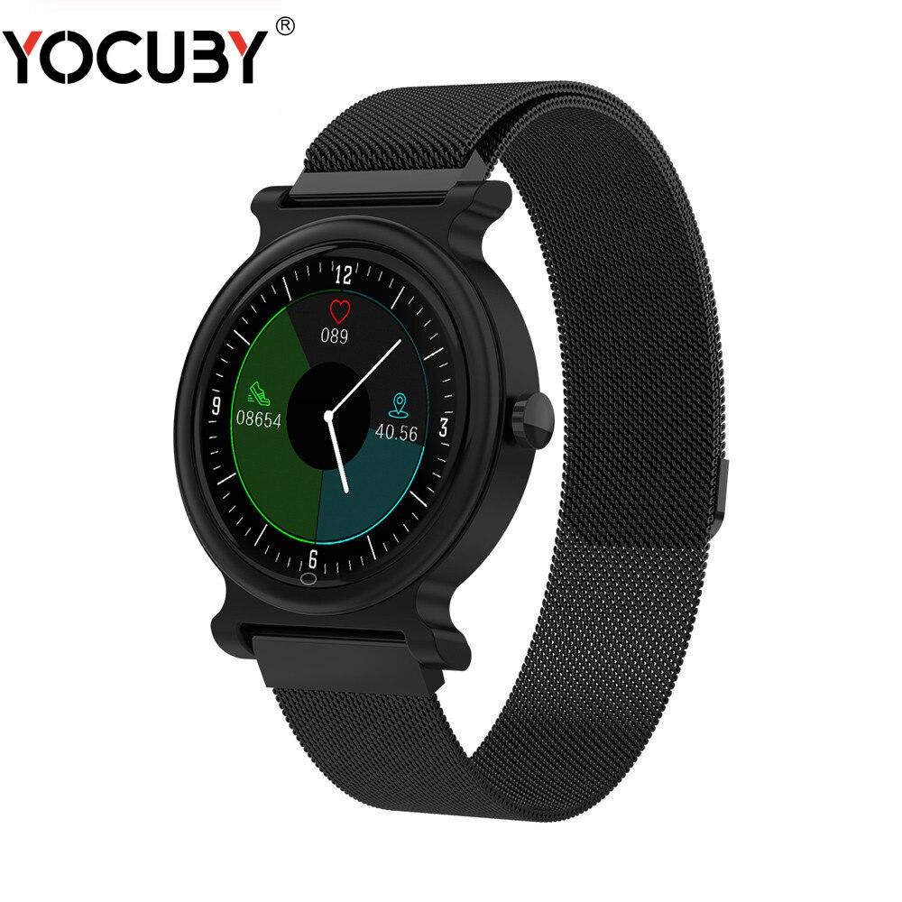 YOCUBY montre intelligente hommes IP68 étanche Reloj appel SmartWatch avec pression artérielle fréquence cardiaque sport Fitness montres en cuir R20