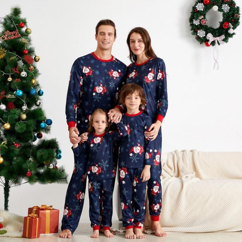 New Christmas Pajamas Set Children Clothing Christmas Family Parent-child Suit Printing Home Service Cotton Soft 2-piece Pajamas
