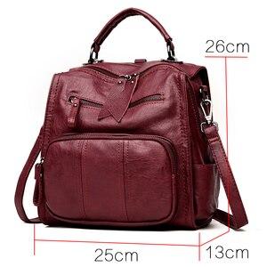 Image 2 - 2020 femmes en cuir sacs à Dos sacs décole pour adolescent filles multifonction femme Sac à bandoulière femme voyage Sac à Dos Sac A Dos