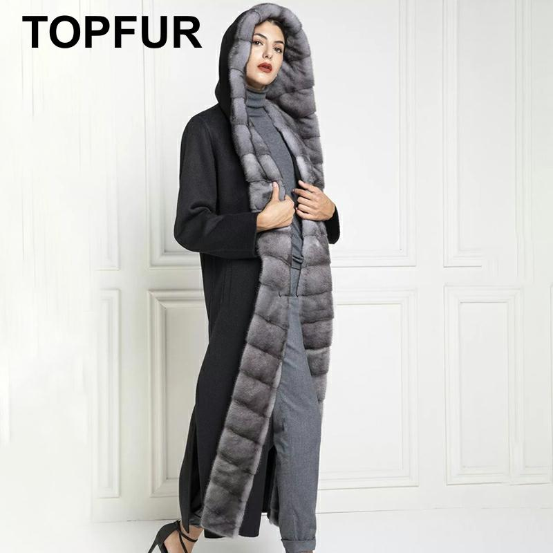 TOPFUR 2019 New Real Fur Coat Women Winter Wool Nizi Coat With Mink Fur Black Coat With Hood Lapel Collar Slim Natural Mink Fur