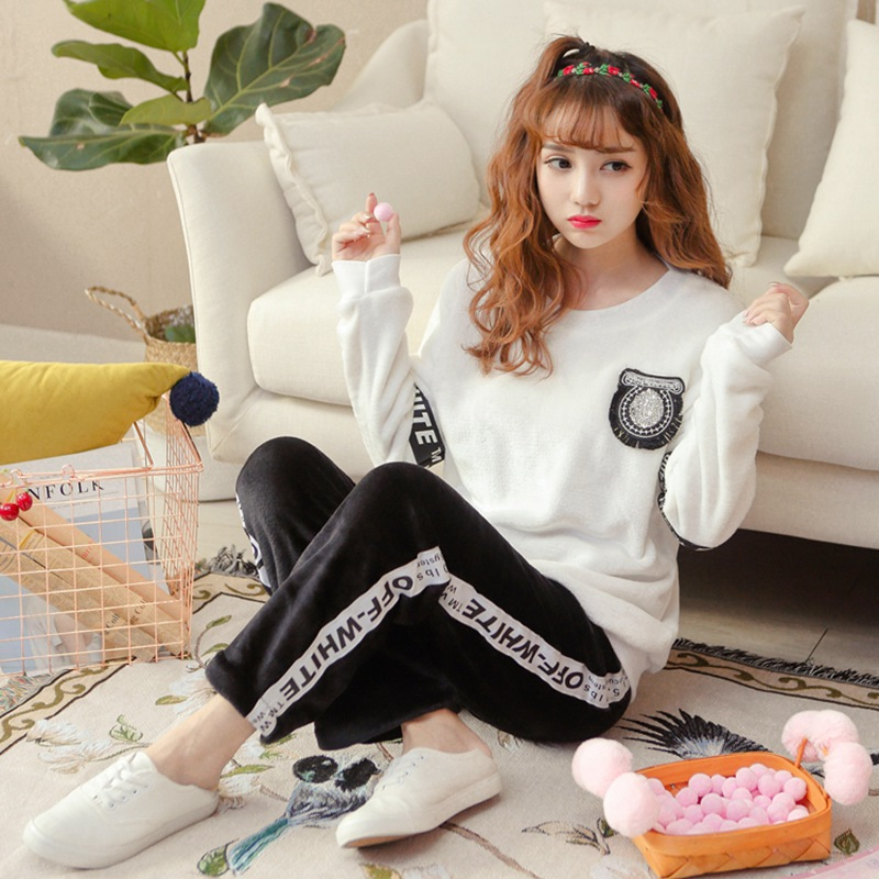 2019 Winter Thick Warm Flannel Pajamas Sets For Women Long Sleeve Coral Velvet Sleepwear Suit Pijama Mujer Homewear Home Clothes