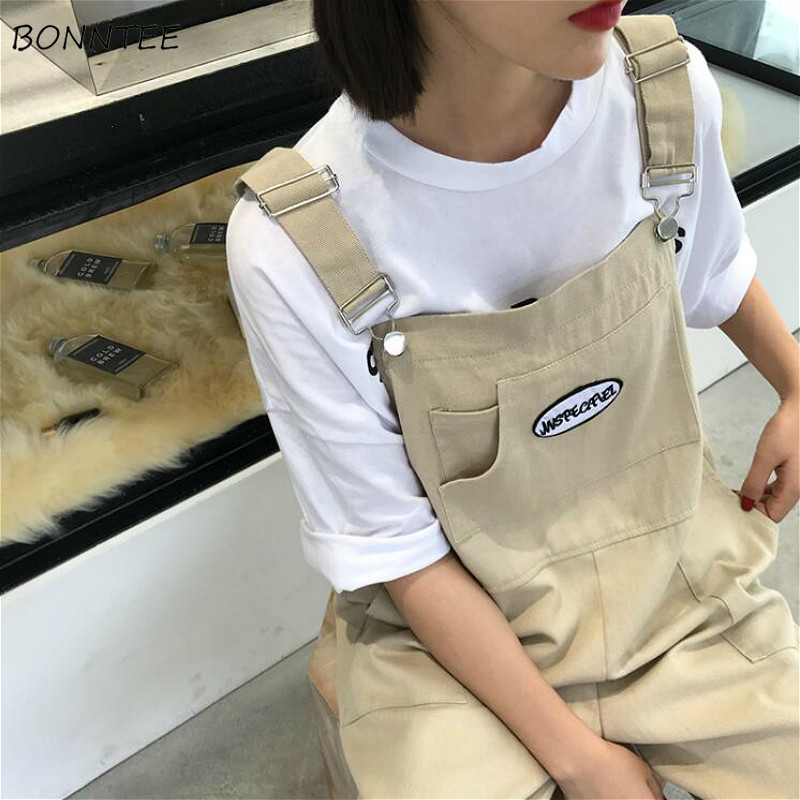 Jumpsuits Women Loose Spring Japanese Cargo Overalls  Womens Streetwear Cool Denim Printed One-Piece Rompers With Pocket Daily