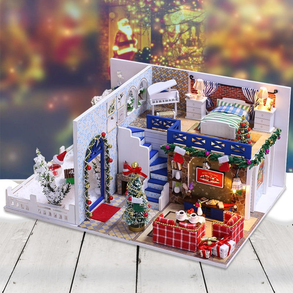 IiE CREATE Dollhouse K026 Blue Christmas Miniature DIY Kit With Lights And Dust Cover