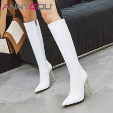 ANNYMOLI Winter Knee High Boots Women Patent Leather Thin Heel Long Zipper Super Shoes Lady Autumn Big Size 4-12