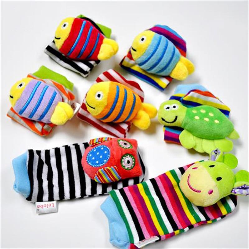 1pc Lovely Baby Kids Rattles Toys Cartoon Animal Socks Wrist Strap With Rattle Baby Foot Socks Bug Wrist Straps