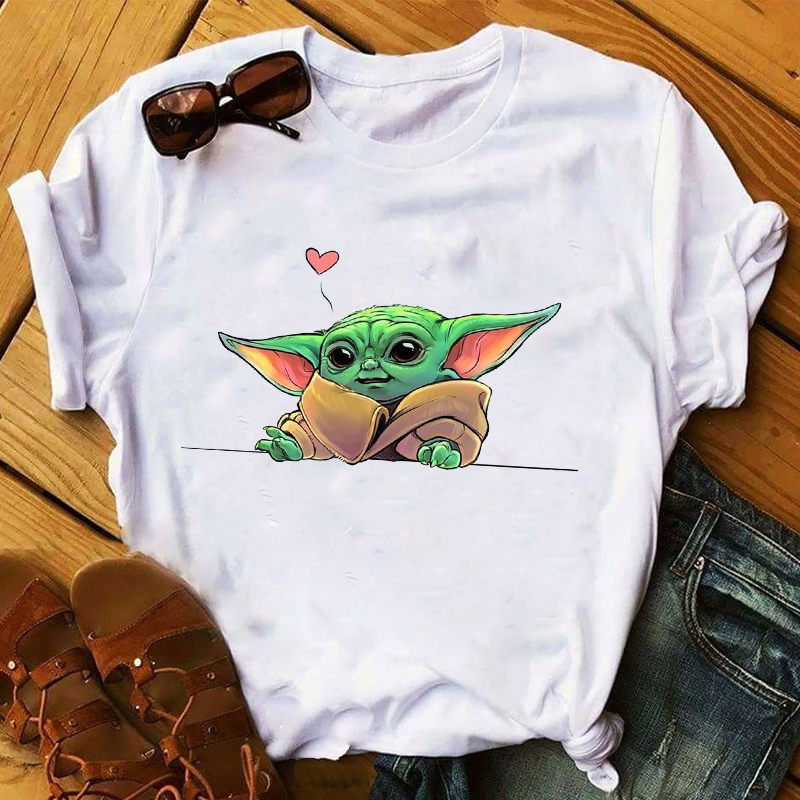 Women 2020 Cartoon Funny Baby Yoda Star Wars Love Printing Tops Clothes Graphic Tshirts Shirt Tee Top T Female Womens T-Shirt