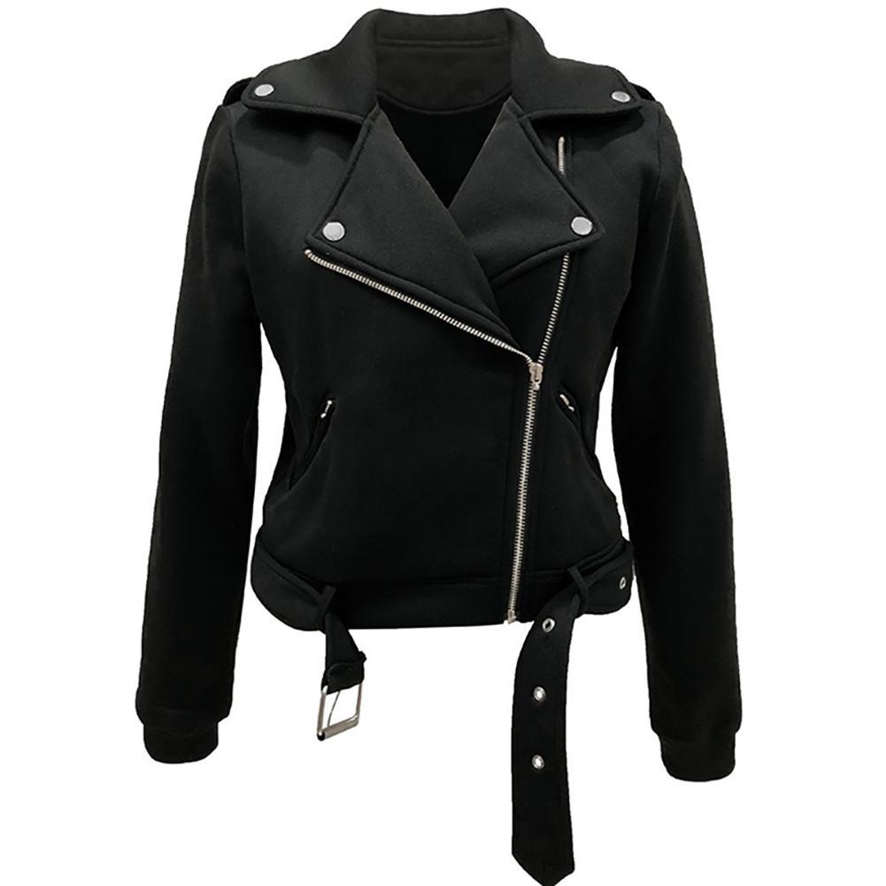 Hot Apparel Women Cool Zipper Long Sleeve Coat Slim-Fit Lapel Motorcycle Jacket With Belt