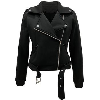 Hot apparel Women Cool Zipper Long Sleeve Coat Slim-Fit Lapel lady Motorcycle Jacket with Belt image