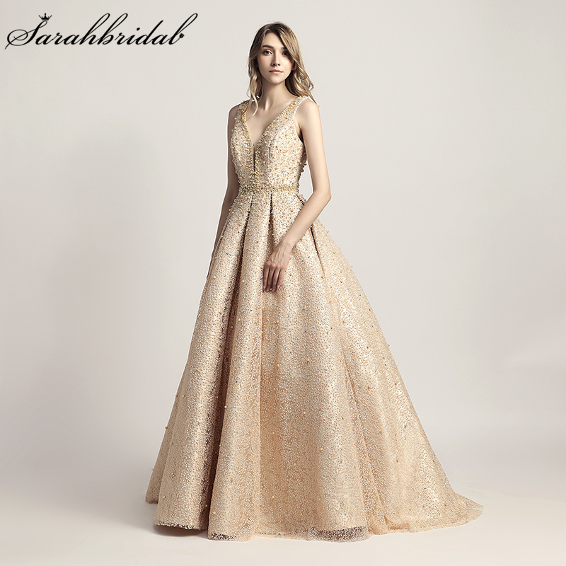 Luxury Evening Dresses Long Dubai Arabic A Line Pearl Backless Party Gowns Floor Length Sleeveless Formal Robe De Soiree LSX442